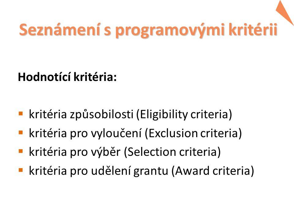 Seznámení s programovými kritérii Hodnotící kritéria:  kritéria způsobilosti (Eligibility criteria)  kritéria pro vyloučení (Exclusion criteria)  kritéria pro výběr (Selection criteria)  kritéria pro udělení grantu (Award criteria)