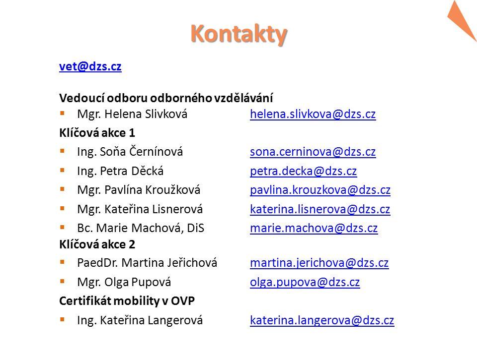 Kontakty vet@dzs.cz Vedoucí odboru odborného vzdělávání  Mgr. Helena Slivkováhelena.slivkova@dzs.czhelena.slivkova@dzs.cz Klíčová akce 1  Ing. Soňa
