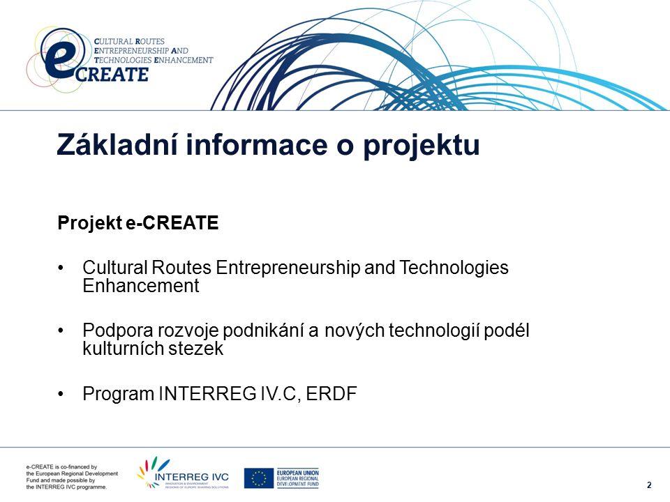 2 Základní informace o projektu Projekt e-CREATE Cultural Routes Entrepreneurship and Technologies Enhancement Podpora rozvoje podnikání a nových technologií podél kulturních stezek Program INTERREG IV.C, ERDF
