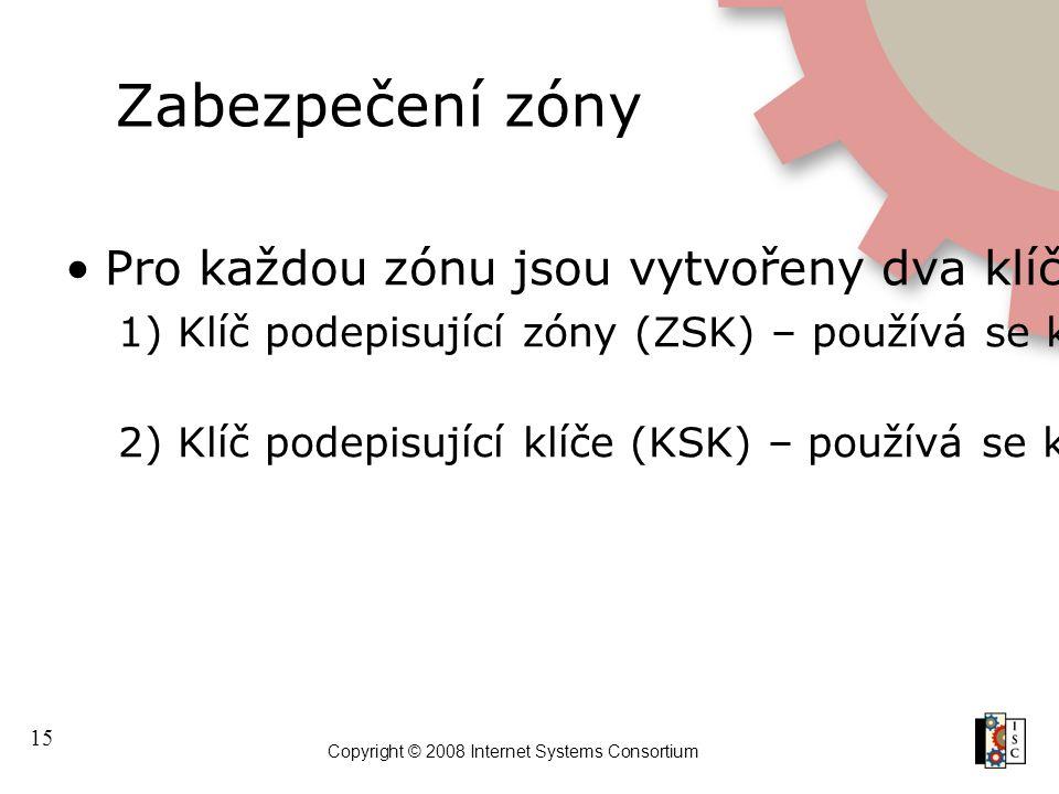 15 Copyright © 2008 Internet Systems Consortium Zabezpečení zóny Pro každou zónu jsou vytvořeny dva klíče 1) Klíč podepisující zóny (ZSK) – používá se