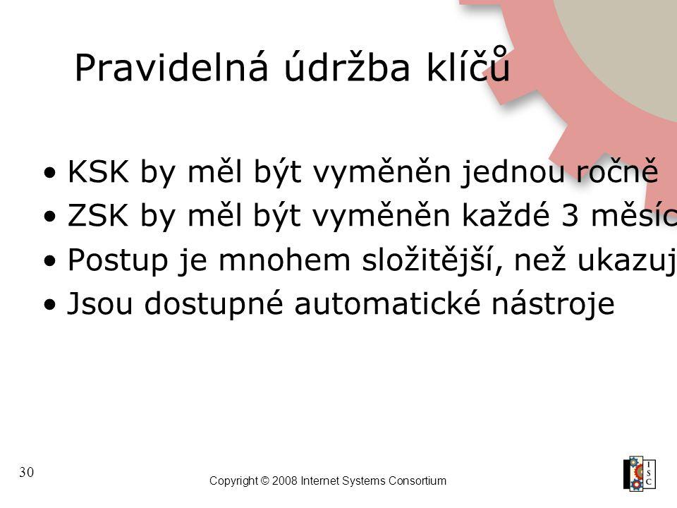 30 Copyright © 2008 Internet Systems Consortium Pravidelná údržba klíčů KSK by měl být vyměněn jednou ročně ZSK by měl být vyměněn každé 3 měsíce Post