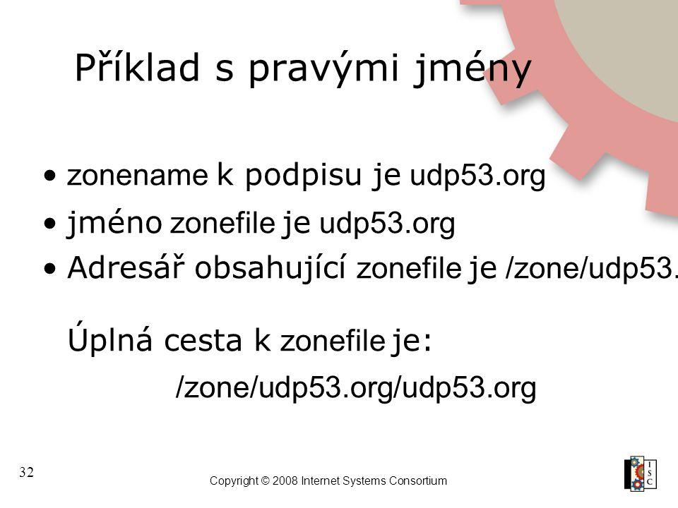 32 Copyright © 2008 Internet Systems Consortium Příklad s pravými jmény zonename k podpisu je udp53.org jméno zonefile je udp53.org Adresář obsahující zonefile je /zone/udp53.org Úplná cesta k zonefile je: /zone/udp53.org/udp53.org
