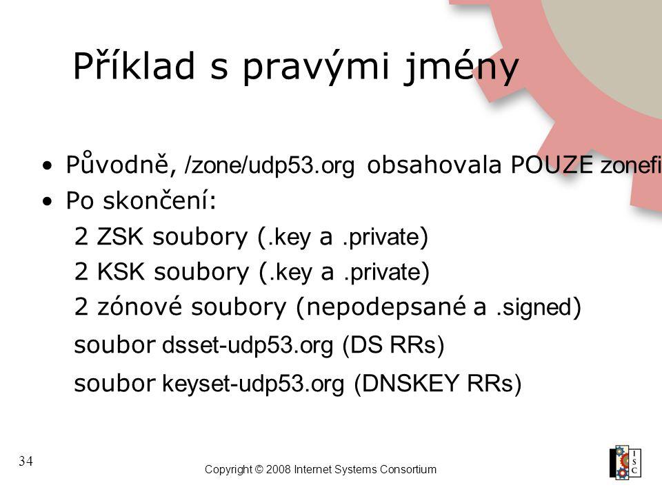 34 Copyright © 2008 Internet Systems Consortium Příklad s pravými jmény Původně, /zone/udp53.org obsahovala POUZE zonefile udp53.org Po skončení: 2 ZSK soubory (.key a.private )  2 KSK soubory (.key a.private )  2 zónové soubory (nepodepsané a.signed )  soubor dsset-udp53.org (DS RRs) soubor keyset-udp53.org (DNSKEY RRs)