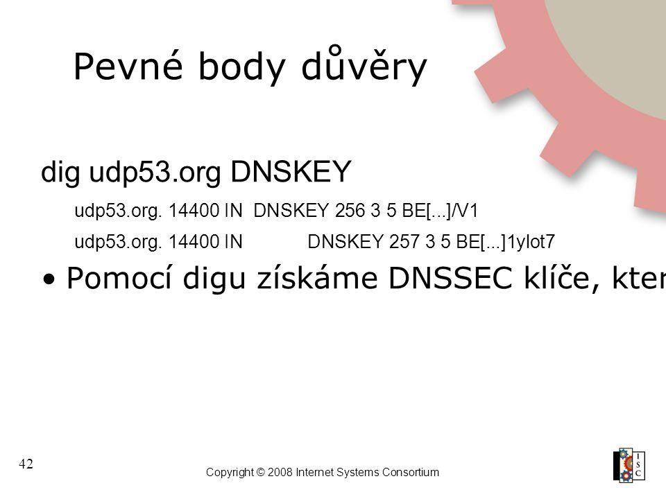 42 Copyright © 2008 Internet Systems Consortium Pevné body důvěry dig udp53.org DNSKEY udp53.org.