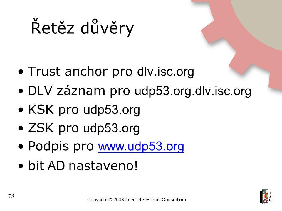 78 Copyright © 2008 Internet Systems Consortium Řetěz důvěry Trust anchor pro dlv.isc.org DLV záznam pro udp53.org.dlv.isc.org KSK pro udp53.org ZSK pro udp53.org Podpis pro www.udp53.org www.udp53.org bit AD nastaveno!