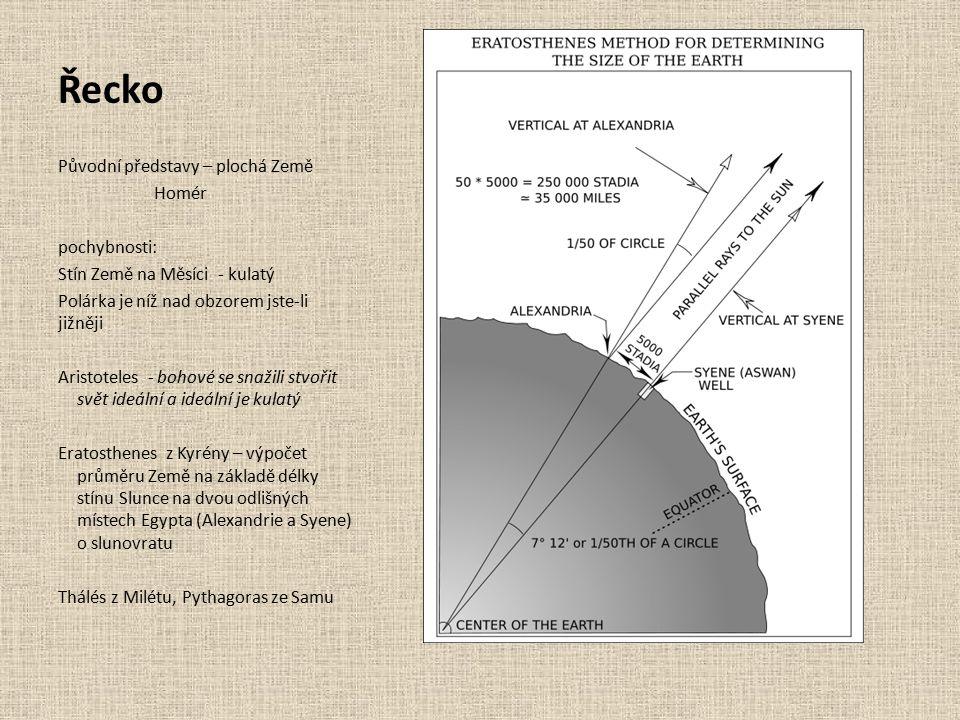 Řecko Původní představy – plochá Země Homér pochybnosti: Stín Země na Měsíci - kulatý Polárka je níž nad obzorem jste-li jižněji Aristoteles - bohové se snažili stvořit svět ideální a ideální je kulatý Eratosthenes z Kyrény – výpočet průměru Země na základě délky stínu Slunce na dvou odlišných místech Egypta (Alexandrie a Syene) o slunovratu Thálés z Milétu, Pythagoras ze Samu