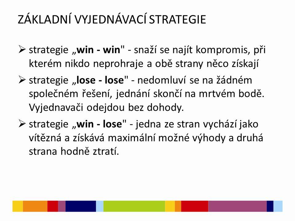 """ZÁKLADNÍ VYJEDNÁVACÍ STRATEGIE  strategie """"win - win - snaží se najít kompromis, při kterém nikdo neprohraje a obě strany něco získají  strategie """"lose - lose - nedomluví se na žádném společném řešení, jednání skončí na mrtvém bodě."""