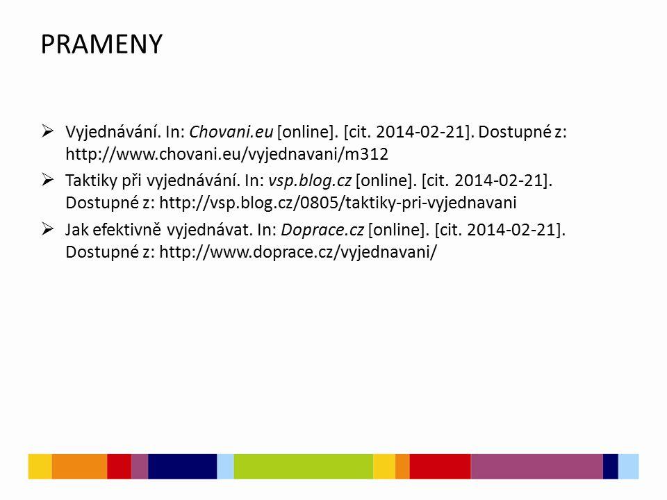 PRAMENY  Vyjednávání. In: Chovani.eu [online]. [cit. 2014-02-21]. Dostupné z: http://www.chovani.eu/vyjednavani/m312  Taktiky při vyjednávání. In: v