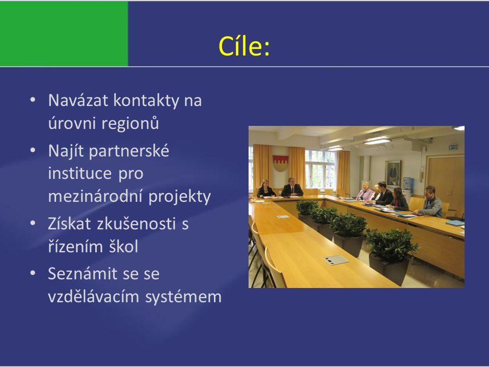 Cíle: Navázat kontakty na úrovni regionů Najít partnerské instituce pro mezinárodní projekty Získat zkušenosti s řízením škol Seznámit se se vzdělávacím systémem