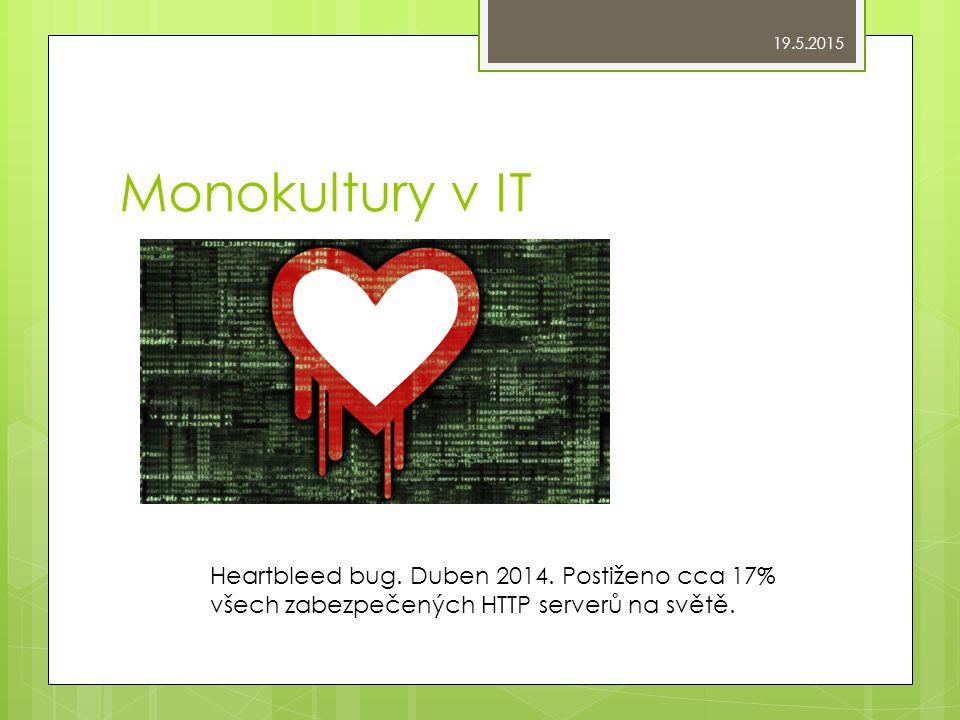 Monokultury v IT Heartbleed bug. Duben 2014.