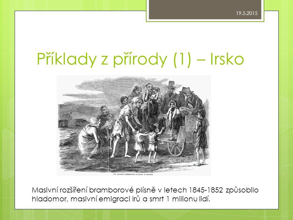 Příklady z přírody (1) – Irsko Masivní rozšíření bramborové plísně v letech 1845-1852 způsobilo hladomor, masivní emigraci Irů a smrt 1 milionu lidí.