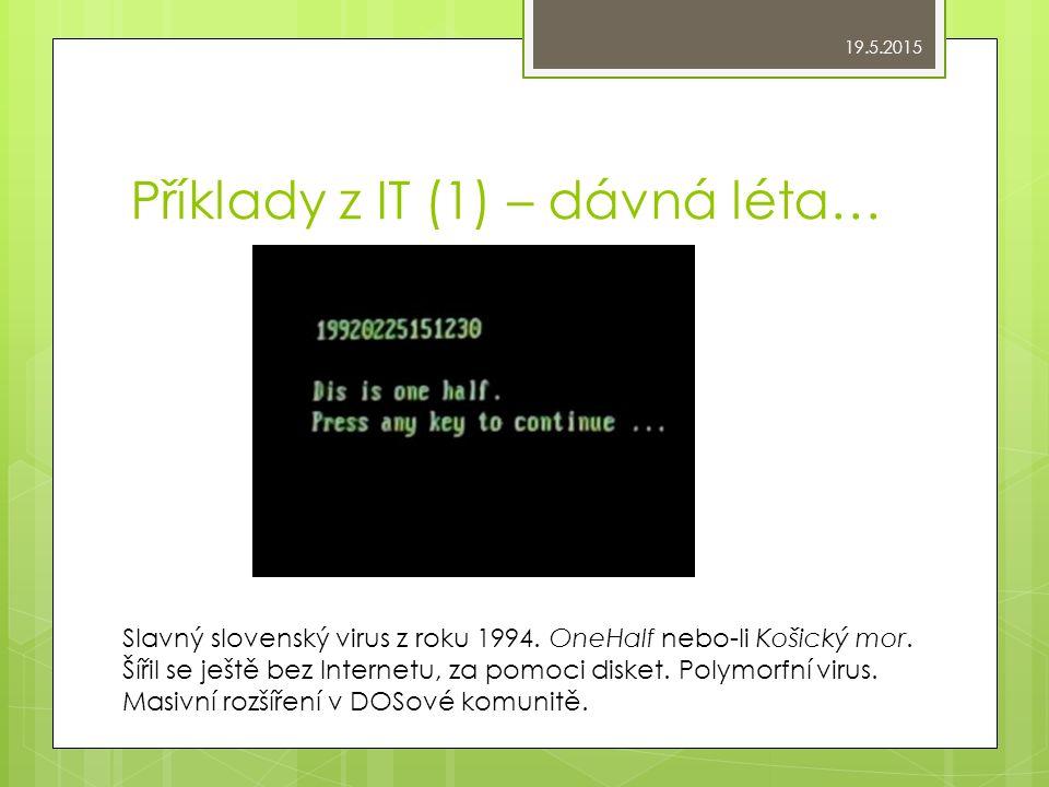 Příklady z IT (1) – dávná léta… Slavný slovenský virus z roku 1994.