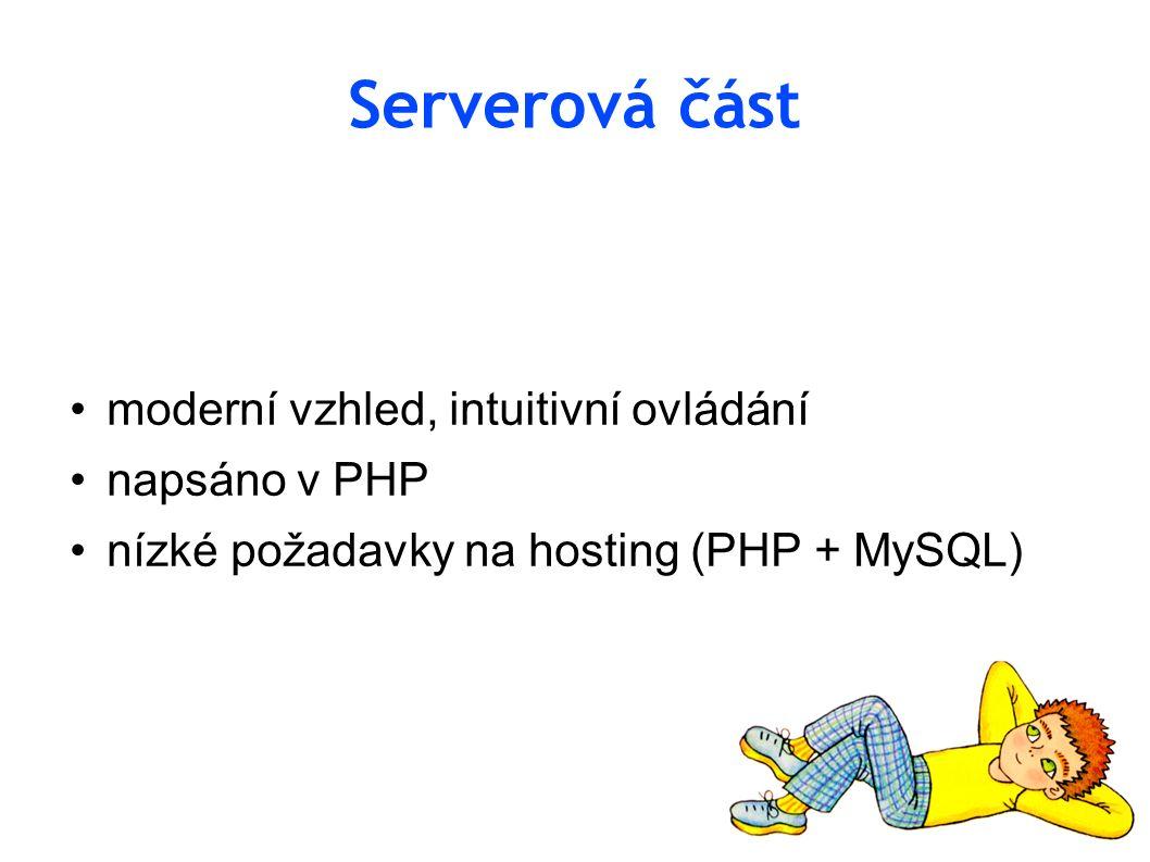 Serverová část moderní vzhled, intuitivní ovládání napsáno v PHP nízké požadavky na hosting (PHP + MySQL)
