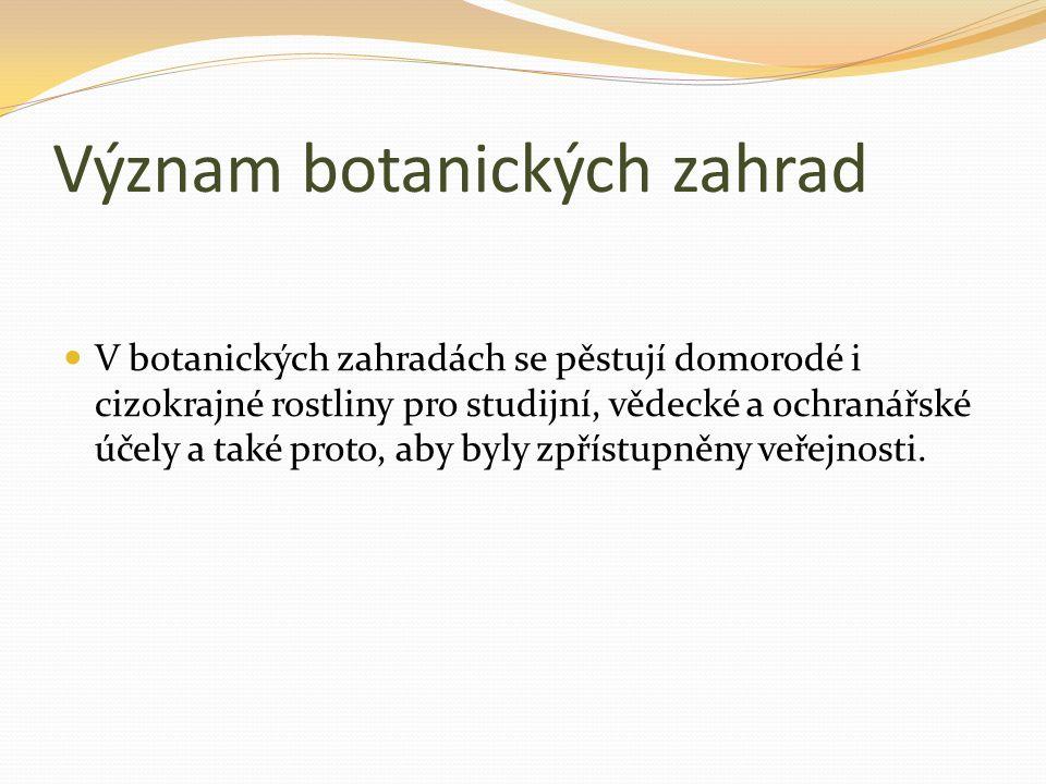 Význam botanických zahrad V botanických zahradách se pěstují domorodé i cizokrajné rostliny pro studijní, vědecké a ochranářské účely a také proto, ab