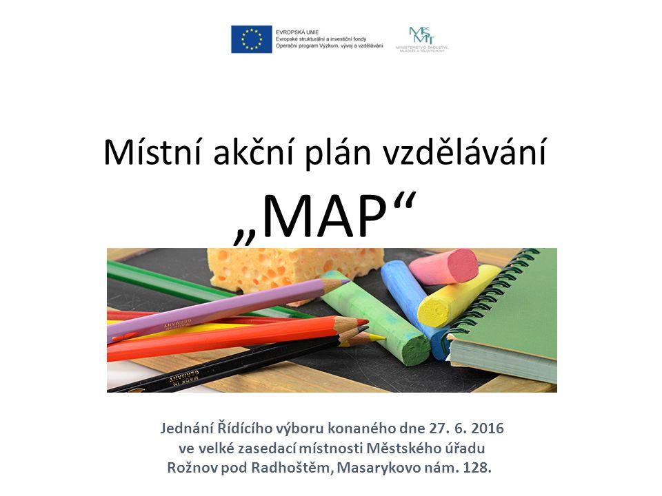 JEDNACÍ ŘÁD Řídícího výboru MAP Tento jednací řád upravuje postupy činnosti a jednání Řídícího výboru projektu Místní akční plán rozvoje vzdělávání v ORP Rožnov pod Radhoštěm (dále jen ŘV MAP) vytvořeného na základě Statusu ŘV MAP ze dne 27.