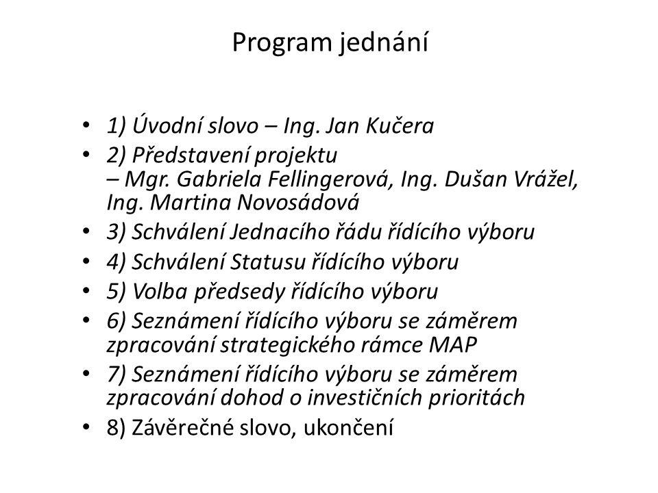 Program jednání 1) Úvodní slovo – Ing. Jan Kučera 2) Představení projektu – Mgr.