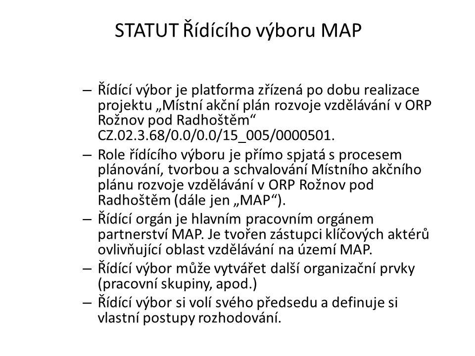 """STATUT Řídícího výboru MAP – Řídící výbor je platforma zřízená po dobu realizace projektu """"Místní akční plán rozvoje vzdělávání v ORP Rožnov pod Radhoštěm CZ.02.3.68/0.0/0.0/15_005/0000501."""