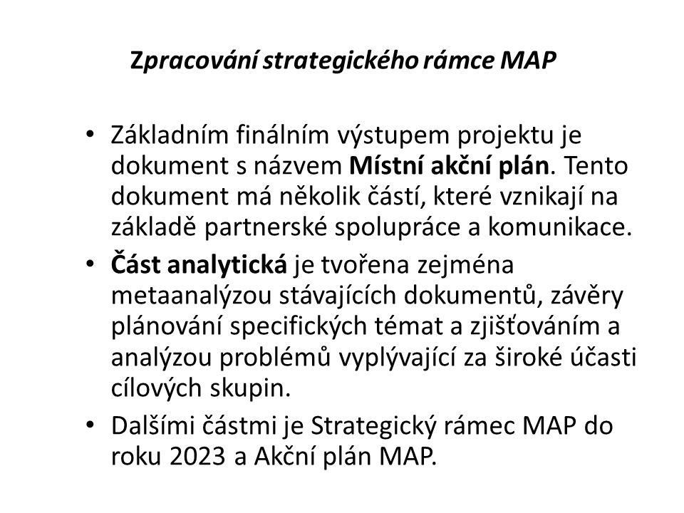 Zpracování strategického rámce MAP Základním finálním výstupem projektu je dokument s názvem Místní akční plán.