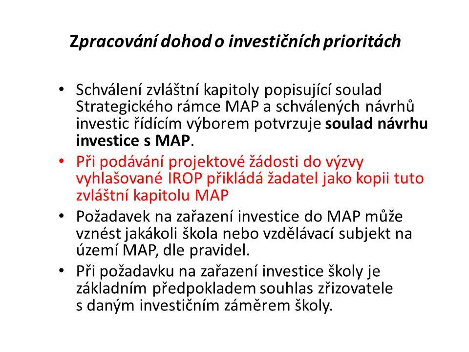 Zpracování dohod o investičních prioritách Schválení zvláštní kapitoly popisující soulad Strategického rámce MAP a schválených návrhů investic řídícím výborem potvrzuje soulad návrhu investice s MAP.