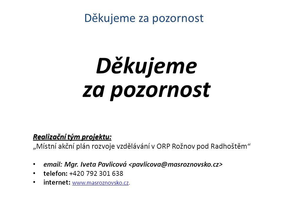 """Děkujeme za pozornost Realizační tým projektu: """"Místní akční plán rozvoje vzdělávání v ORP Rožnov pod Radhoštěm email: Mgr."""