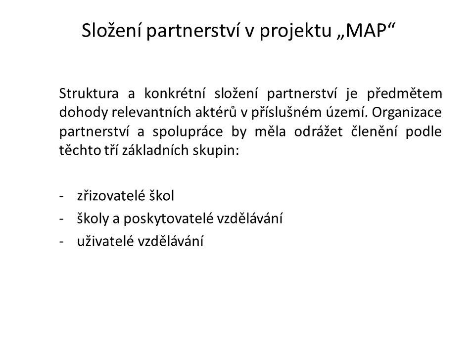 """Složení partnerství v projektu """"MAP Struktura a konkrétní složení partnerství je předmětem dohody relevantních aktérů v příslušném území."""