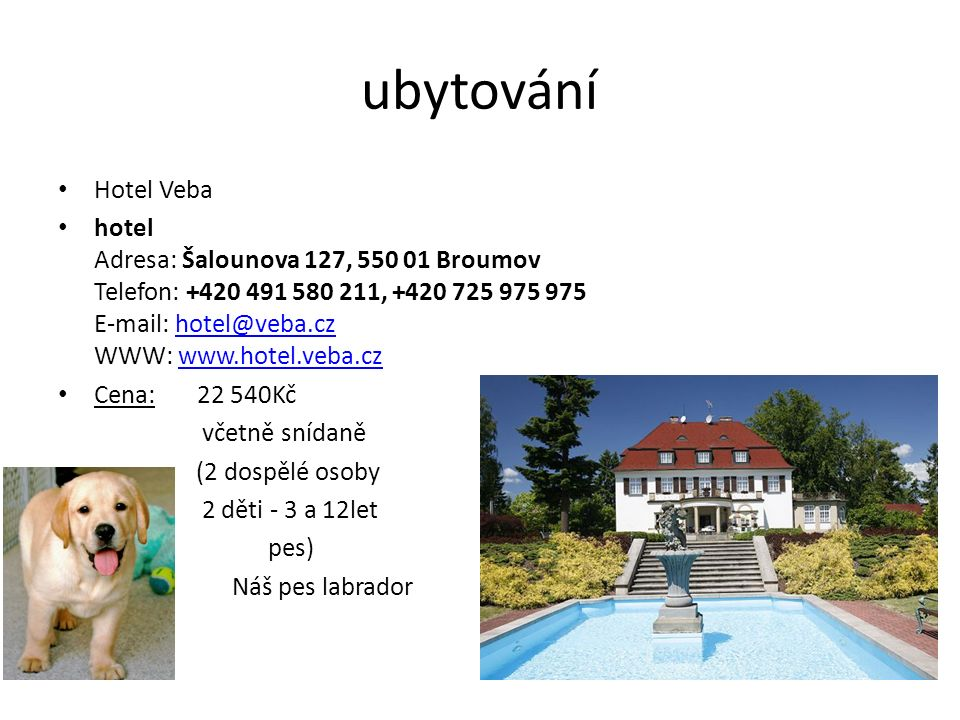 ubytování Hotel Veba hotel Adresa: Šalounova 127, 550 01 Broumov Telefon: +420 491 580 211, +420 725 975 975 E-mail: hotel@veba.cz WWW: www.hotel.veba