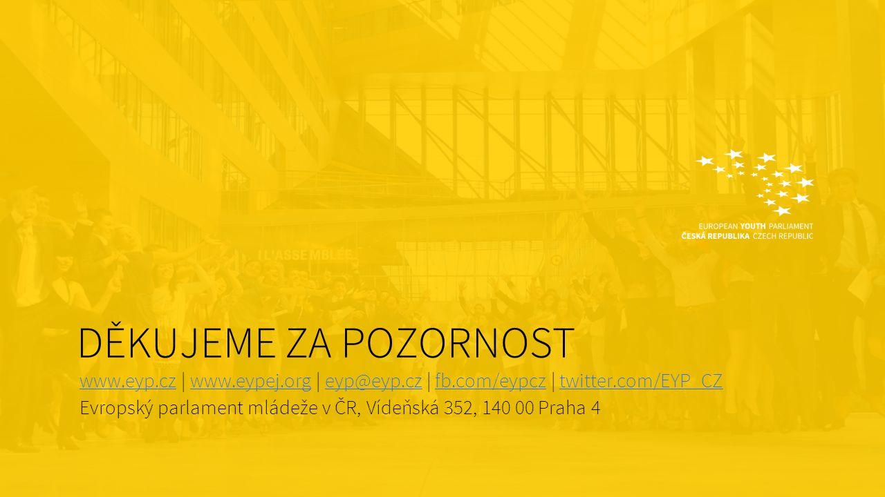 DĚKUJEME ZA POZORNOST www.eyp.czwww.eyp.cz | www.eypej.org | eyp@eyp.cz | fb.com/eypcz | twitter.com/EYP_CZwww.eypej.orgeyp@eyp.czfb.com/eypcztwitter.com/EYP_CZ Evropský parlament mládeže v ČR, Vídeňská 352, 140 00 Praha 4