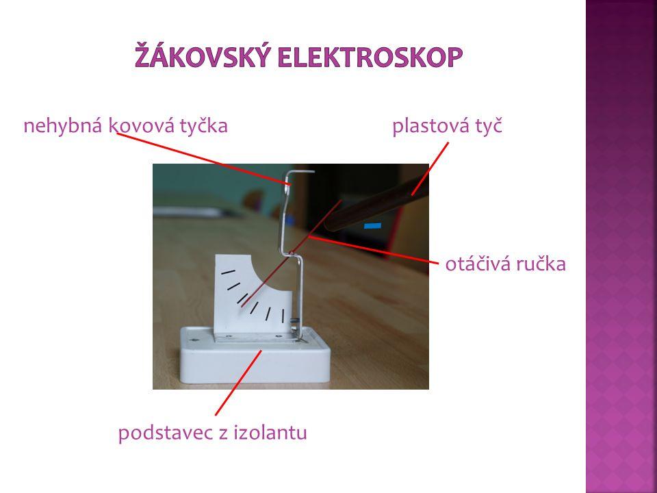 skleněná tyč prstenec z izolantu nehybná kovová tyčka kovová otáčivá ručka kovová skříňka stojan z izolantustupnice +