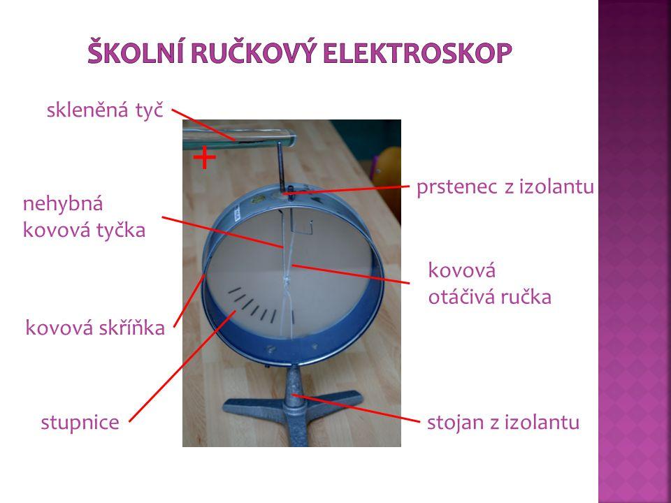  Desky elektroskopu se dotkneme kladně nabitou skleněnou tyčí.