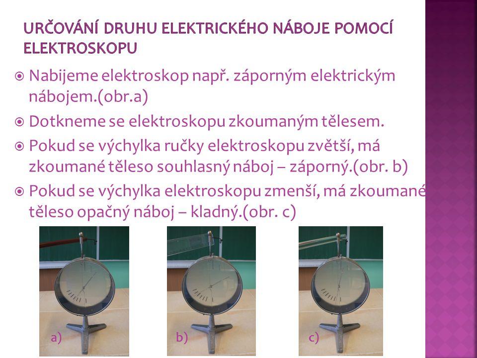  Nabijeme elektroskop např. záporným elektrickým nábojem.(obr.a)  Dotkneme se elektroskopu zkoumaným tělesem.  Pokud se výchylka ručky elektroskopu