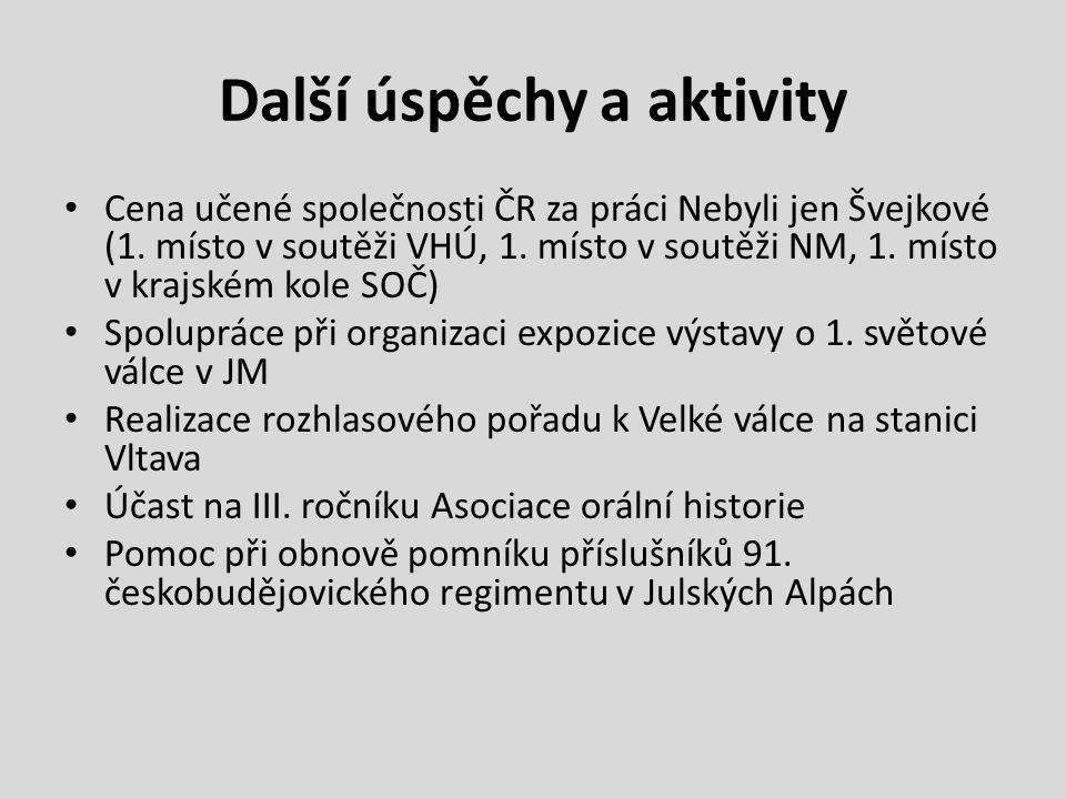 Další úspěchy a aktivity Cena učené společnosti ČR za práci Nebyli jen Švejkové (1.