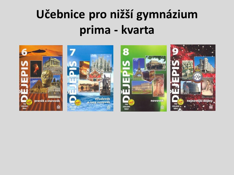 Učebnice pro nižší gymnázium prima - kvarta