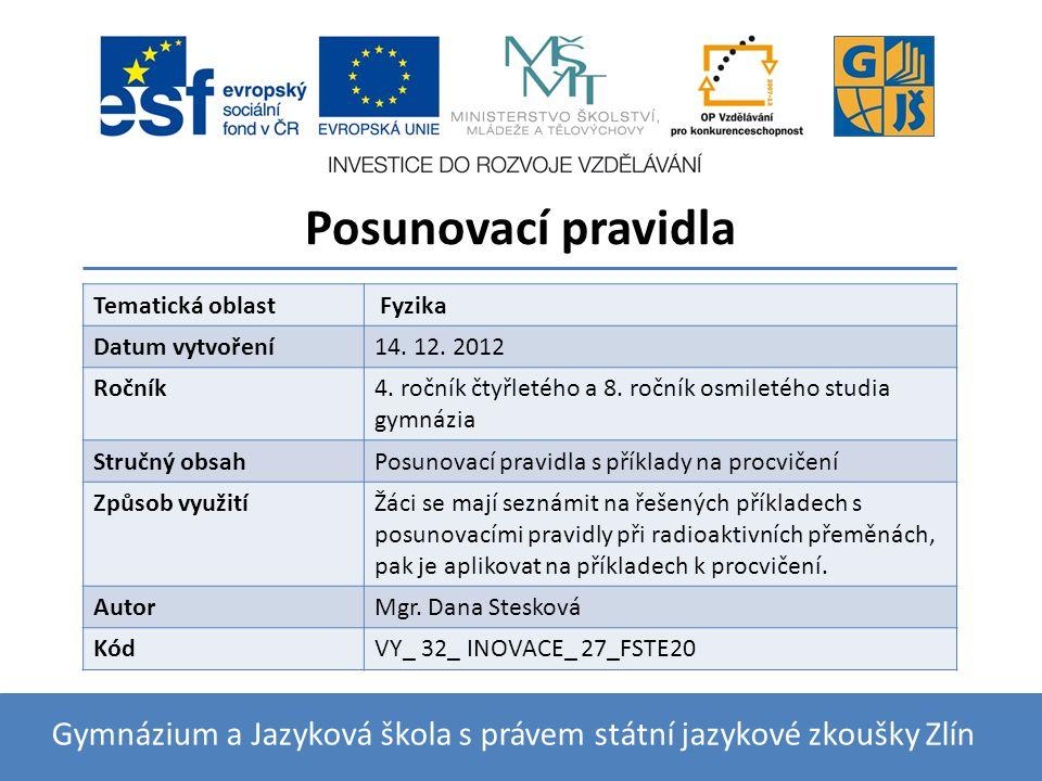 Posunovací pravidla Gymnázium a Jazyková škola s právem státní jazykové zkoušky Zlín Tematická oblast Fyzika Datum vytvoření14.