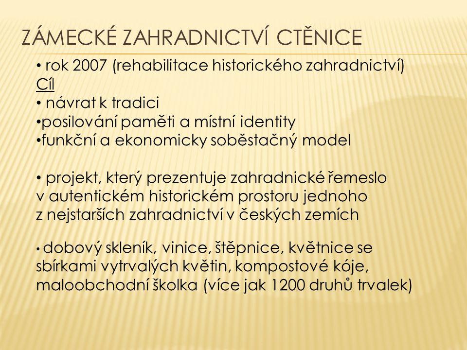 ZÁMECKÉ ZAHRADNICTVÍ CTĚNICE rok 2007 (rehabilitace historického zahradnictví) Cíl návrat k tradici posilování paměti a místní identity funkční a ekon