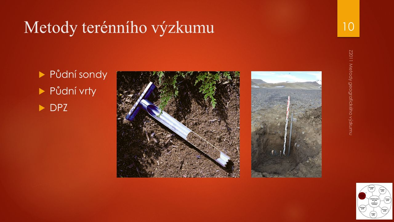 Metody terénního výzkumu  Půdní sondy  Půdní vrty  DPZ Z2011 Metody geografického výzkumu 10