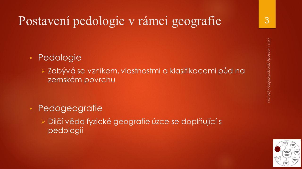 Postavení pedologie v rámci geografie Pedologie  Zabývá se vznikem, vlastnostmi a klasifikacemi půd na zemském povrchu Pedogeografie  Dílčí věda fyz