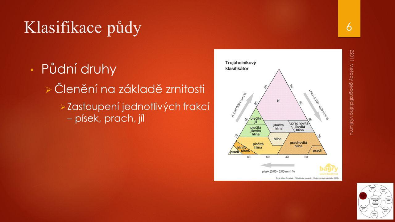 Klasifikace půdy Půdní druhy  Členění na základě zrnitosti  Zastoupení jednotlivých frakcí – písek, prach, jíl Z2011 Metody geografického výzkumu 6