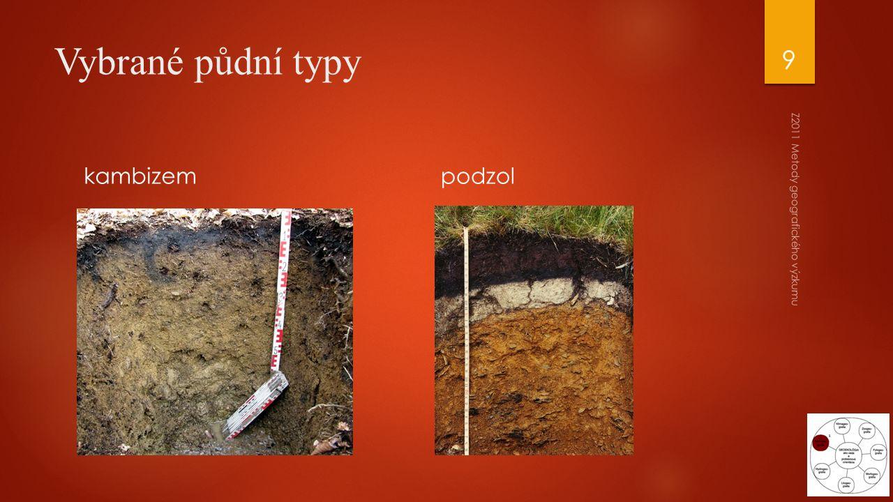 podzol Z2011 Metody geografického výzkumu 9 Vybrané půdní typy kambizem