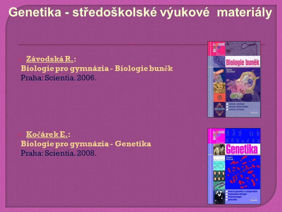  Závodská R.: Biologie pro gymnázia - Biologie bun ě k Praha: Scientia.
