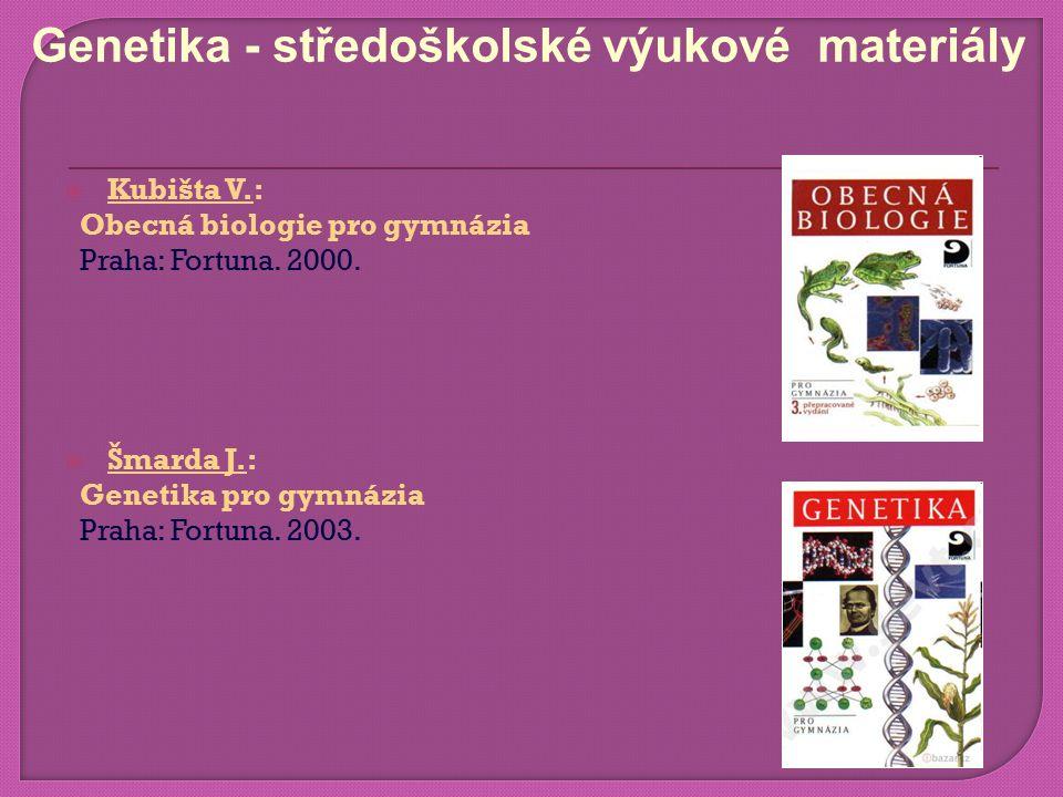  Kubišta V.: Obecná biologie pro gymnázia Praha: Fortuna.