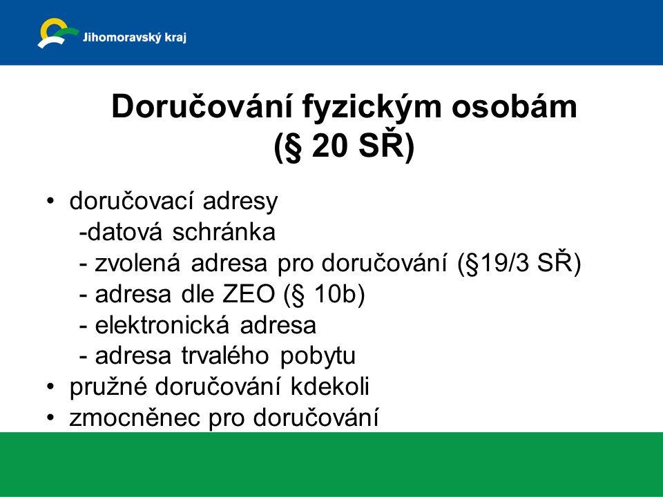 Doručování fyzickým osobám (§ 20 SŘ) doručovací adresy -datová schránka - zvolená adresa pro doručování (§19/3 SŘ) - adresa dle ZEO (§ 10b) - elektronická adresa - adresa trvalého pobytu pružné doručování kdekoli zmocněnec pro doručování