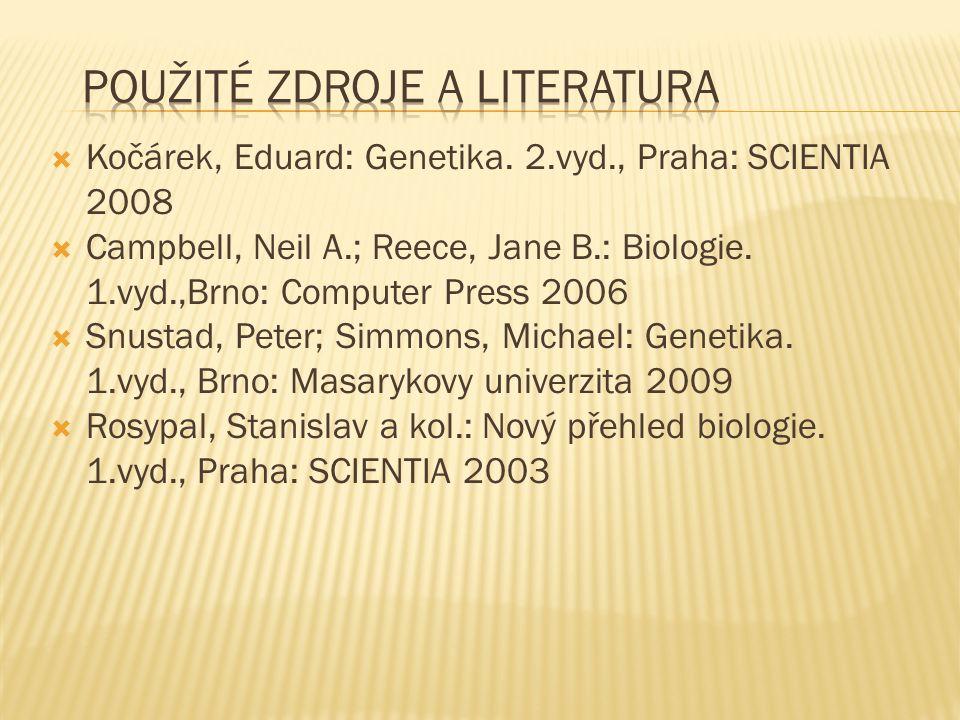  Kočárek, Eduard: Genetika. 2.vyd., Praha: SCIENTIA 2008  Campbell, Neil A.; Reece, Jane B.: Biologie. 1.vyd.,Brno: Computer Press 2006  Snustad, P