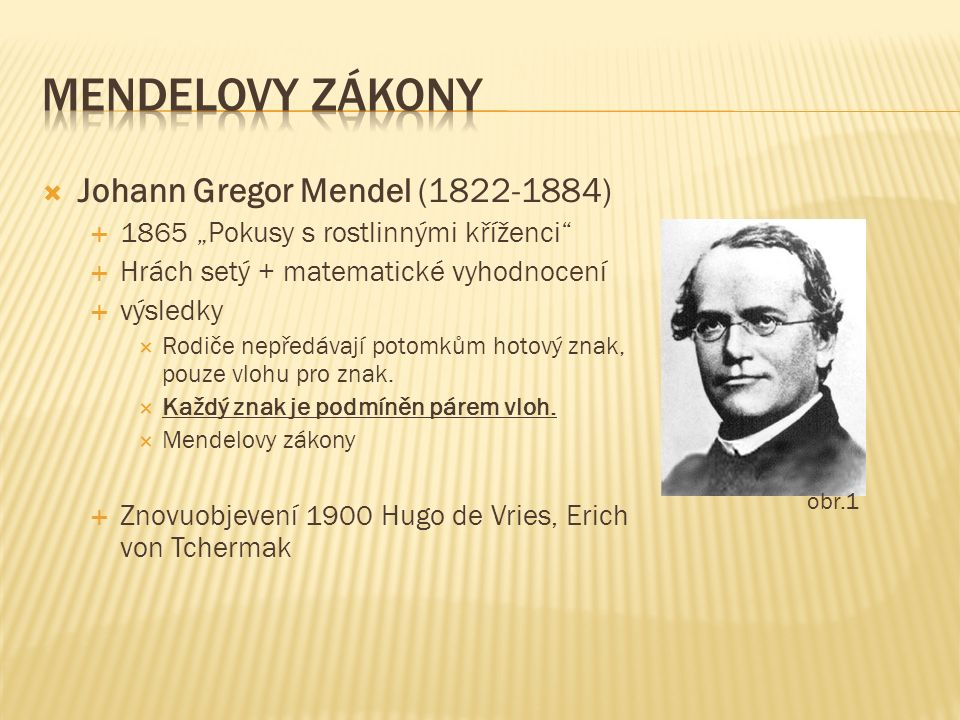 """ Johann Gregor Mendel (1822-1884)  1865 """"Pokusy s rostlinnými kříženci""""  Hrách setý + matematické vyhodnocení  výsledky  Rodiče nepředávají potom"""
