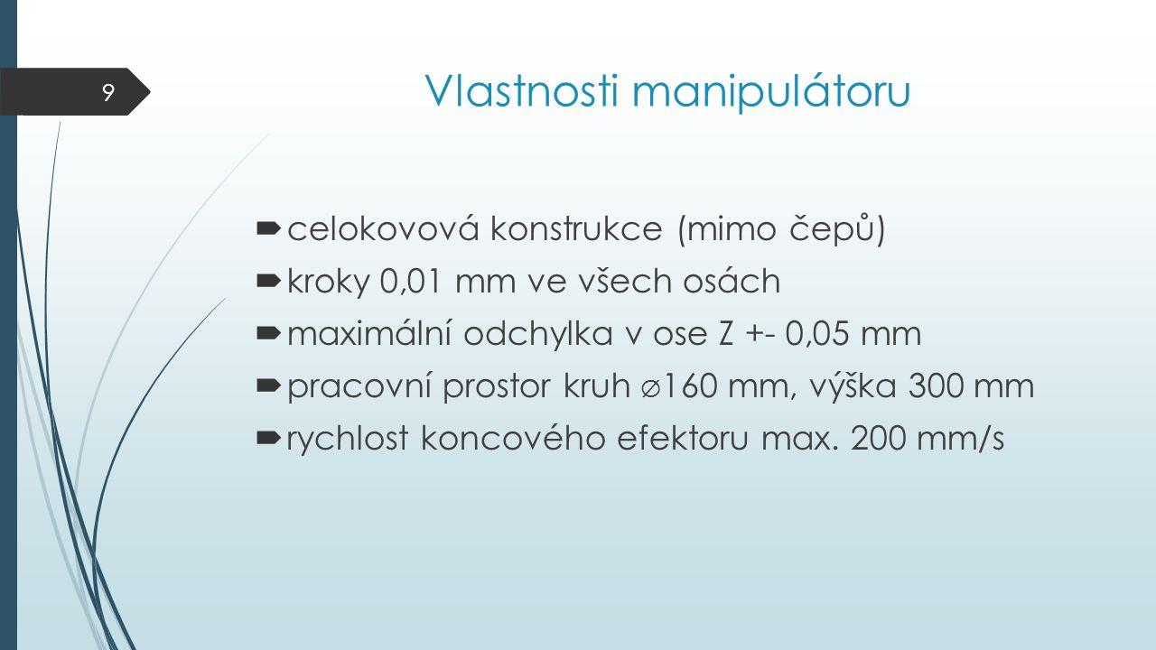 Vlastnosti manipulátoru  celokovová konstrukce (mimo čepů)  kroky 0,01 mm ve všech osách  maximální odchylka v ose Z +- 0,05 mm  pracovní prostor kruh Ø 160 mm, výška 300 mm  rychlost koncového efektoru max.