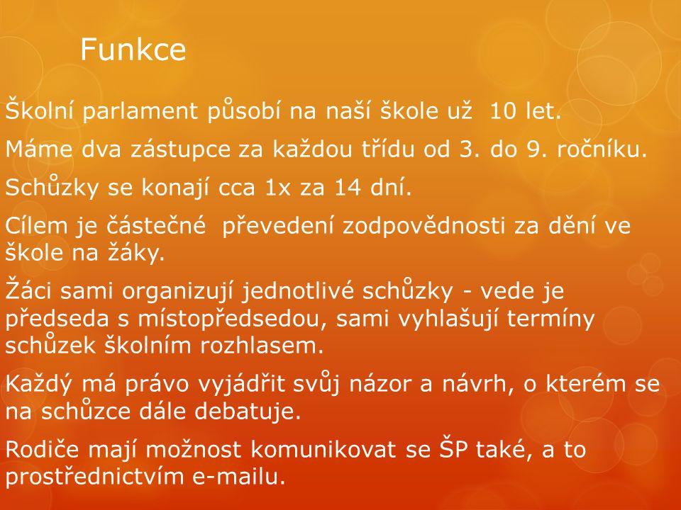 Volba do ŠP Zástupci jednotlivých tříd volí předsedu a místopředsedu z kandidátů z 9.