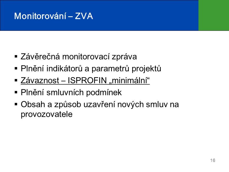 """16 Monitorování – ZVA  Závěrečná monitorovací zpráva  Plnění indikátorů a parametrů projektů  Závaznost – ISPROFIN """"minimální  Plnění smluvních podmínek  Obsah a způsob uzavření nových smluv na provozovatele"""