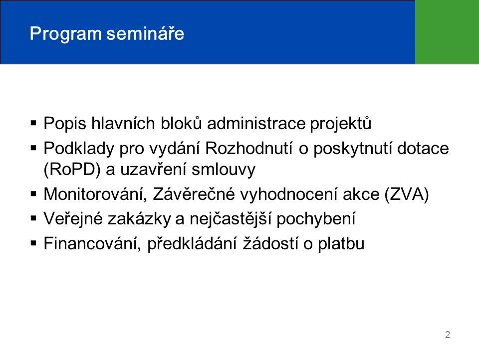 2 Program semináře  Popis hlavních bloků administrace projektů  Podklady pro vydání Rozhodnutí o poskytnutí dotace (RoPD) a uzavření smlouvy  Monitorování, Závěrečné vyhodnocení akce (ZVA)  Veřejné zakázky a nejčastější pochybení  Financování, předkládání žádostí o platbu