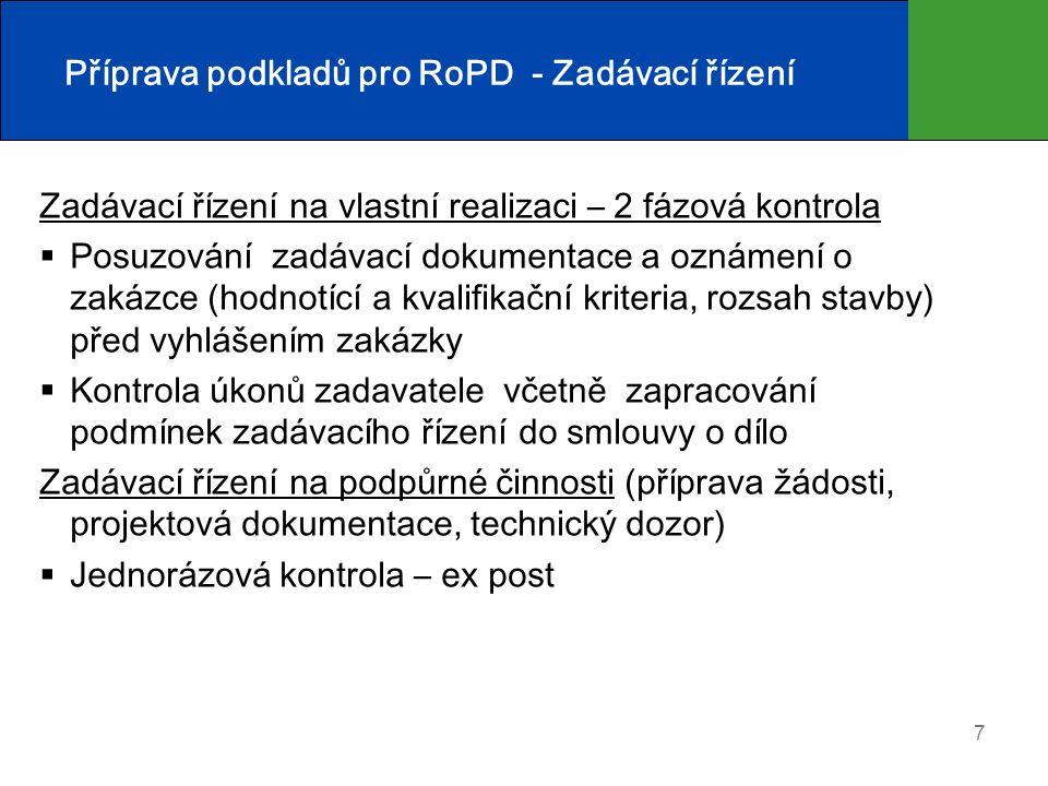 7 Příprava podkladů pro RoPD - Zadávací řízení Zadávací řízení na vlastní realizaci – 2 fázová kontrola  Posuzování zadávací dokumentace a oznámení o