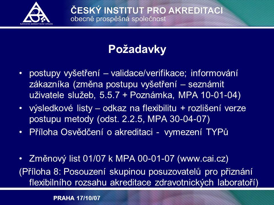PRAHA 17/10/07 Požadavky postupy vyšetření – validace/verifikace; informování zákazníka (změna postupu vyšetření – seznámit uživatele služeb, 5.5.7 + Poznámka, MPA 10-01-04) výsledkové listy – odkaz na flexibilitu + rozlišení verze postupu metody (odst.
