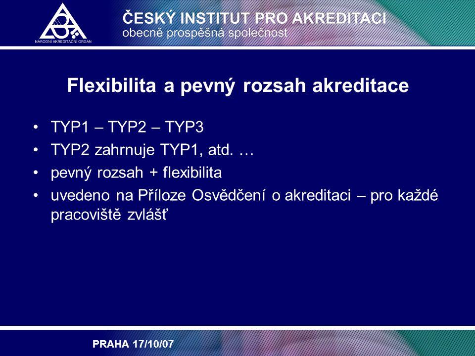 PRAHA 17/10/07 Flexibilita a pevný rozsah akreditace TYP1 – TYP2 – TYP3 TYP2 zahrnuje TYP1, atd.